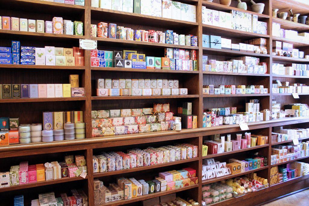 Merz Apothecary soap wall