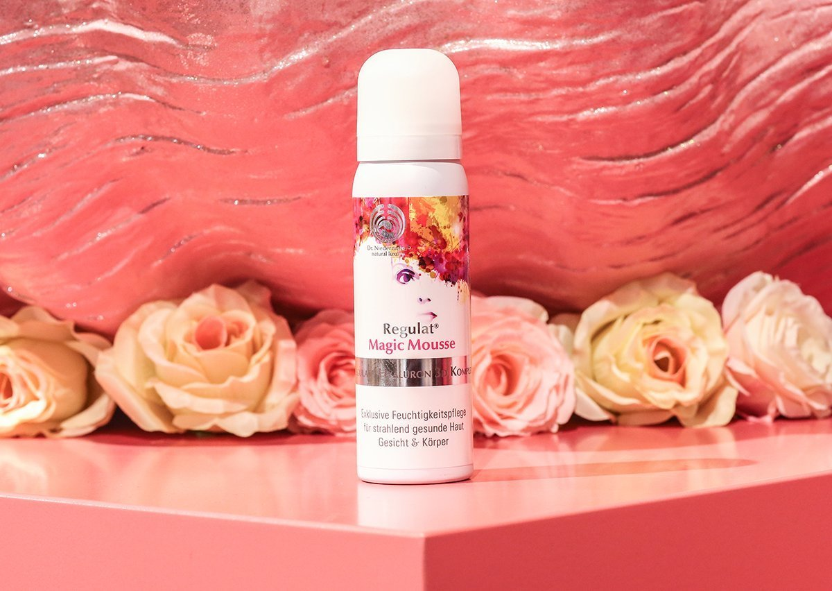 Dr. Niedermaier's newly-launched Regulat Magic Mousse in front of the brand's large fountain installation at IBE Berlin 2019.(The Biggest Beauty Trends From The First IBE Berlin)