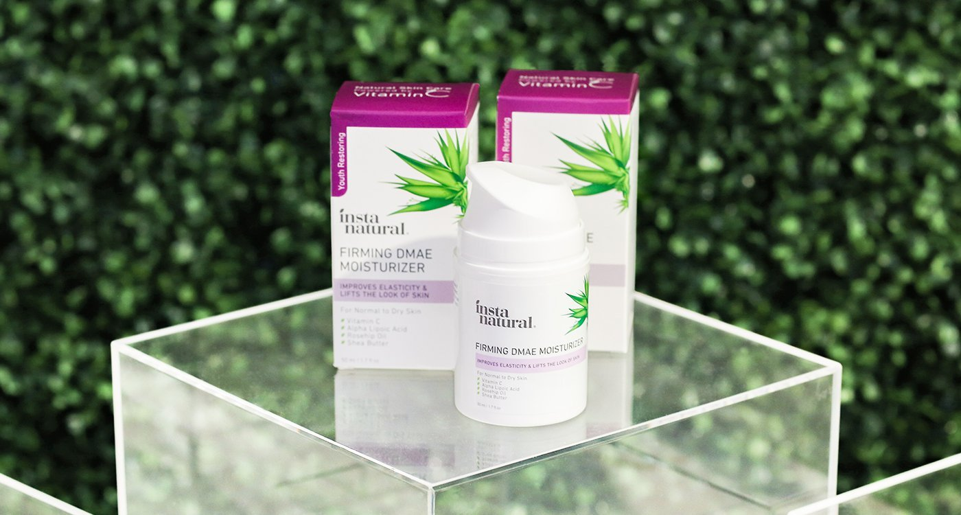 Amazon superstar InstaNatural's new skincare product Firming DMAE Collagen Serum pairs DMAE or dimethylethanolamine, an ingredient ingested to improve memory, with plant collagen, vitamin C and hyaluronic acid. (IBE NY 2019 Beauty Trends)