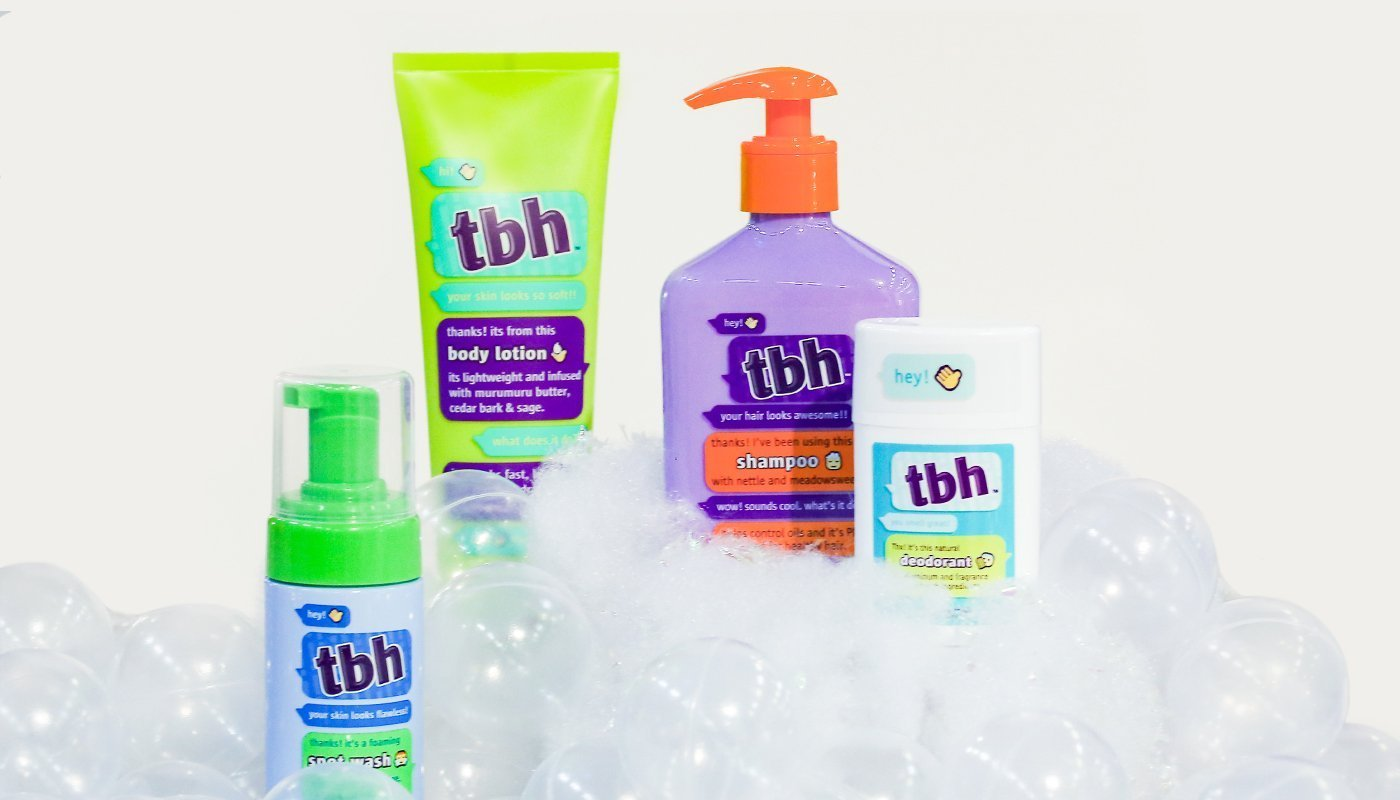 "Founder Risa Barash says TBH's mission is to ""help kids transition into and out of puberty by teaching them good personal care habits, guiding them through this sometimes awkward phase, and teaching them to read labels and understand good-for-you ingredients as well as ingredients to avoid."" (IBE NY 2019 Beauty Trends)"