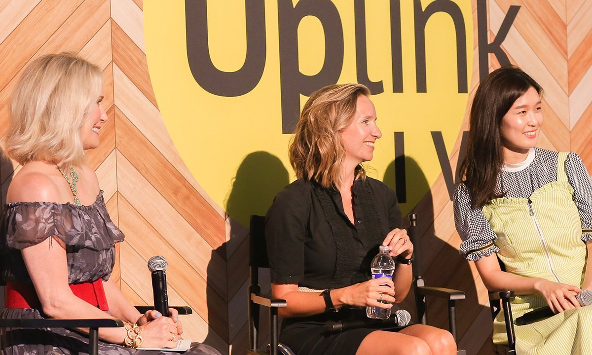 """Sarah Brown of Pai Skincare (center, between Charlotte Cho of Soko Glam and IBMG's Jillian Wright), cautioned entrepreneurs during an Uplink Live presentation to maintain their health and perspective. """"You can't pour from an empty cup,"""" said Brown."""
