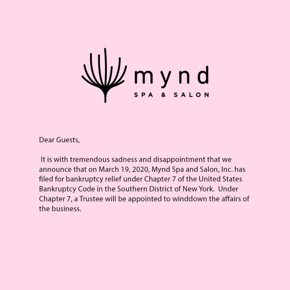mynd-spa-salon-bankruptcy-heyday-layoffs
