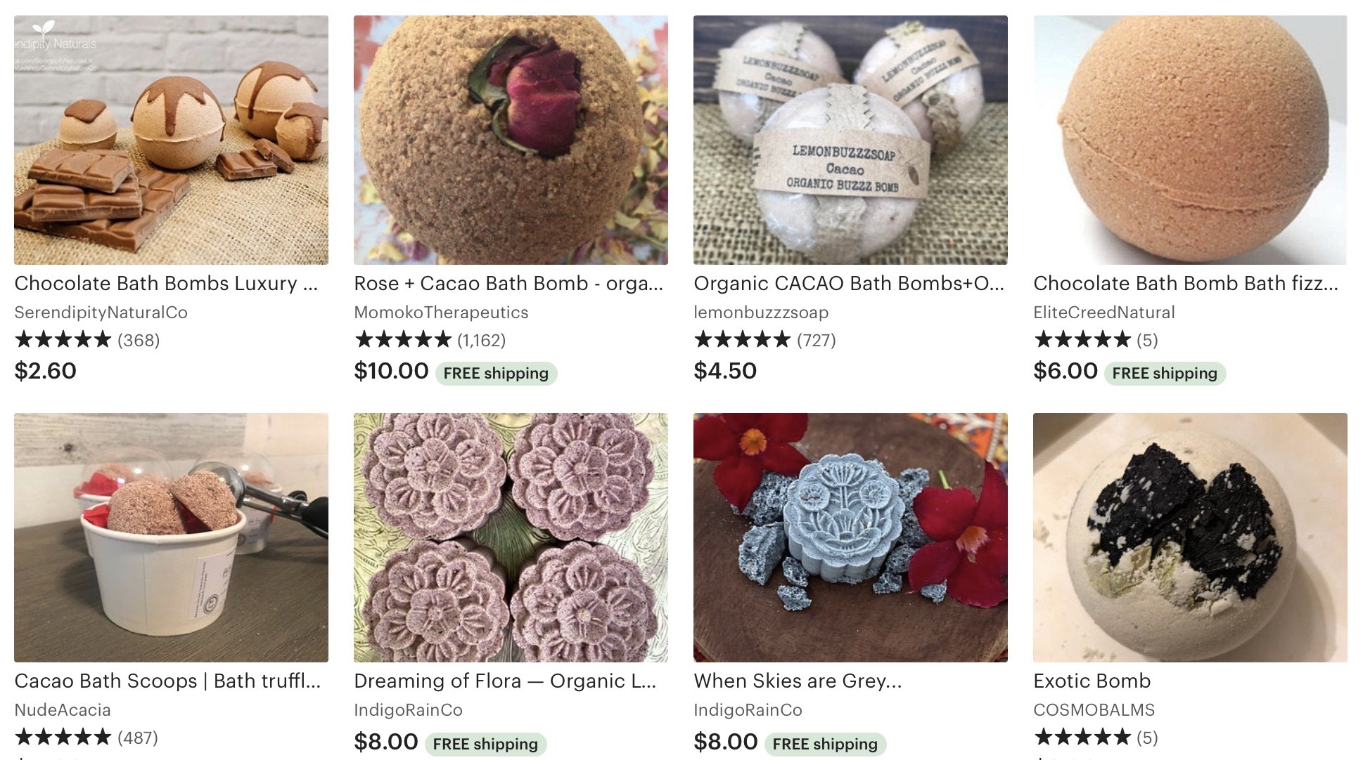 Cacao is a popular ingredient in bath bombs sold on Etsy.